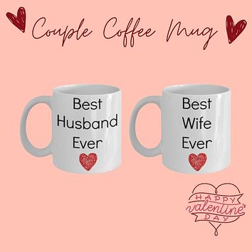 Best Husband and Wife Coffee mug set for newlyweds anniversary valentines tea cup set gift