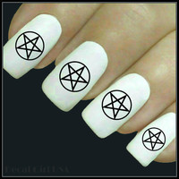 Pentacle Nail Decal 20 Water Slide Decals Fingernail Decals Nail Tattoos Nail Transfers
