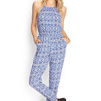 FOREVER 21 Mosaic Woven Halter Jumpsuit Cream/Blue Large
