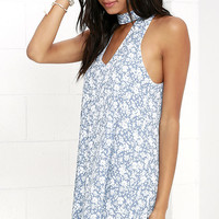 Lean Close Ivory and Blue Floral Print Swing Dress