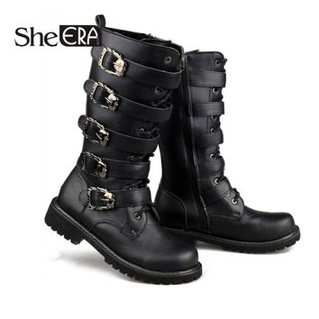 She ERA Army Boots Men Military Leather Combat Metal Buckle Motorcycle Boots