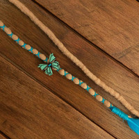 Turquoise feather dreads,  1 de, wool dreadlocks, boho hair jewelry,hair with feather, fairy, boho weddings accessories, butterfly bead