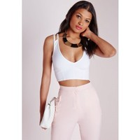 Missguided - Double Strap Plunge Scuba Bralet White