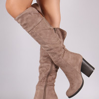 Bamboo Suede Chunky Heel Knee High Boots