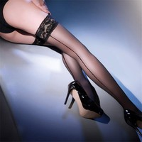 Women's Sexy Stockings Cuban Sexy Stockings Cuban Heel Back Seam Stockings Wide Lace UP Thigh High Stockings Sexy Lingerie SW057