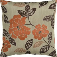 Blossom Throw Pillow Brown, Orange