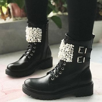 Women Black Pearl Fashion Ankle Boots