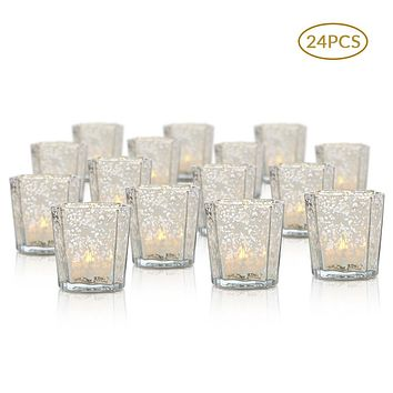 24 Pack | Vintage Mercury Glass Candle Holders (2.75-Inch, Patricia Design, Silver)