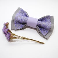 FREE SHIPPING Embroidered violet grey man bow tie Purple grey pretied bowtie Groomsman bowtie Handmade bowtie Gift for brother Cotton bowtie