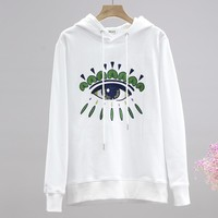 KENZO sells casual men's and women's eye print hoodie with round collar