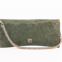 "Green Leather ""Fold-over"" Clutch with Silver Chain"