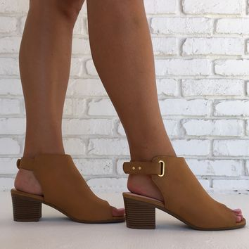 Lasted Leather Booties in Camel