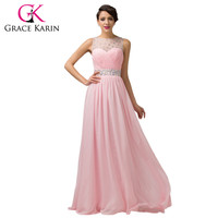 Grace Karin Lilac Pink Long Prom Dresses Elegant Fromal Party Gown Ball Beaded Ruched Bodice Special Occasion Dress Chiffon 2016