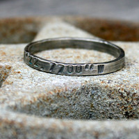 Personalized Sterling Silver Ring - Latitude Longitude Coordinates Memento Thin Band