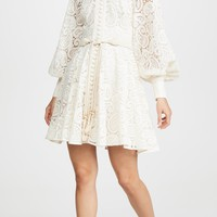 Cream Lace Puff Sleeves Mini Dress