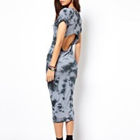 ASOS Midi Dress With Open Back In Tie Dye at asos.com