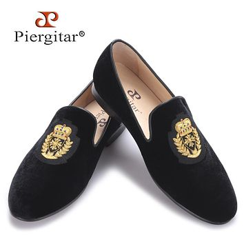 new India handmade luxurious embroidery men velvet shoes Men dress shoes male Plus size loafers