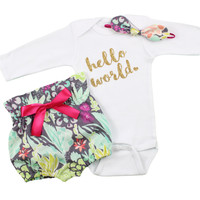 Baby Newborn take home outfit   Bright Coral Flower Hight Waisted Bloomers and Knotted Headband, Gold Hello World Outfit