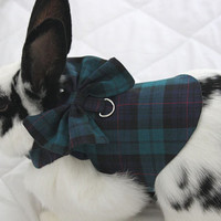 Tartan harness with bow and matching leash for your bunny . Made to order