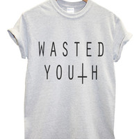 Wasted youth grey t shirt