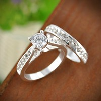 Charm Silver Rings For Women Bijoux Crystal Engagement Wedding band