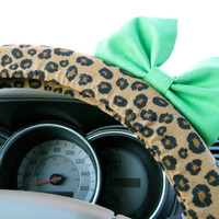 Cheetah Steering Wheel Cover with Matching Minty Lime Green Bow