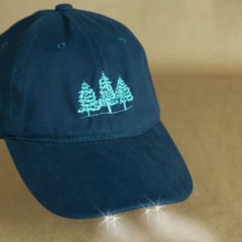 """Red Pine Trees""""Hat with Headlights"""" Hiking, Skiing,Woodland Walks, Red Christmas Trees,Shoveling Snow, Night Lights,Tree Tops, Mountain Tree"""