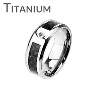 Wall Street - FINAL SALE Solid titanium with cubic zirconia solitaire and black graphite carbon fiber checkerboard inlay