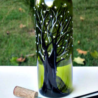 Incense Burner, Smoking Bottle, Recycled Green Wine Bottle, Incense Holder, Hand Painted, Black Tree
