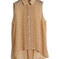 Dots Printed Light Khaki Chiffon Shirt [NCSHM0221] - $21.99 :