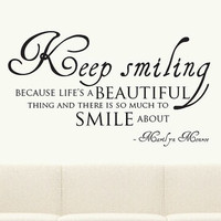 Keep Smiling Wall Sticker Marilyn Monroe Quote Mural Decal Vinyl