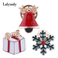 Lalynnly Snowflake Christmas Brooch Pin Set Enamel Pins Badge Crystal Scarf Pin Brooches for Women Girls Christmas Gifts X01311