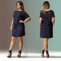 Navy Loose Lace Mini Dress
