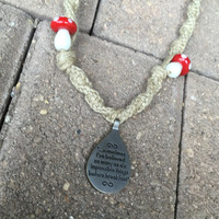 Alice in Wonderland Mushroom Hemp Necklace