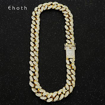 20mm Bling Maimi Cuban Link Chain Necklace Men's Hip Hop Gold Silver Color Iced Out Rhinestone Necklaces Jewelry