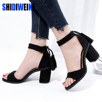 SHIDIWEIKE 2017 New Retro Flock Square Heels Fringe Leisure hasp Sexy Sandals Shoes Woman Ankle Strap Zapatos Mujer Black Brown