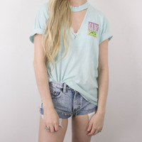 Vintage 1989 Distressed Club Smash Volleyball Cut Out T Shirt