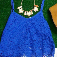 SECRETS TO TELL CROP TOP IN ROYAL BLUE