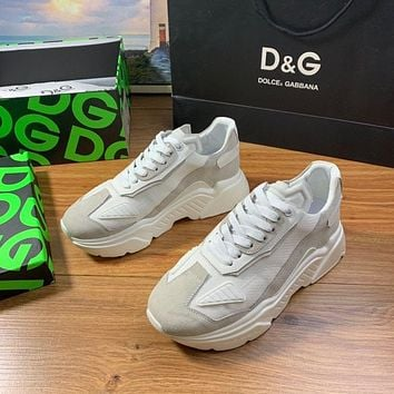 D&G DOLCE & GABBANA Men's And Women's Leather Fashion Low Top Sneakers Shoes