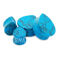 Synthetic Stone Teardrop Turquoise Plugs (14mm-24mm)