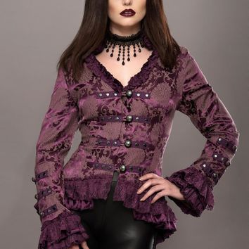 Purple Rain Victorian Jacket with Lace Embellishments