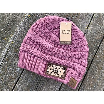 Snowflake Dusty Rose CC Beanie Hat Tooled Leather Patch Hat