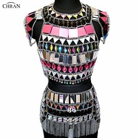 Bejeweled Crystal Pink Mirror Body Chain Crop Top and Skirt Set