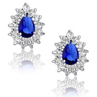 Blue Teardrop and Clear Round Cubic Zirconia Stud Earrings