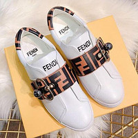 FENDI Fashion Women Comfortable Leather Sports Shoes Sneakers