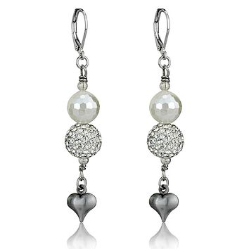 Silver Stud Earrings LO3804 Antique Silver White Metal Earrings with Synthetic