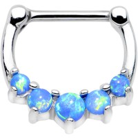 "16 Gauge 5/16"" Blue Synthetic Opal Steel Barbell Simple Septum Clicker"