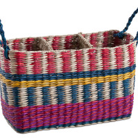Global Stripe Seagrass Caddy, Storage Baskets