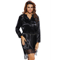 Fashion Women Sexy Long Sleeve Package Hip V Neck Erotic One Piece Dress Shirt Blouse _ 12247