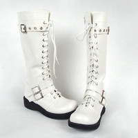2011 Fashion White Buckles Lace-up Half Boots [TOQ0429025] - $108.00 : Cosplay, Cosplay Costumes, Lolita Dress, Sweet Lolita